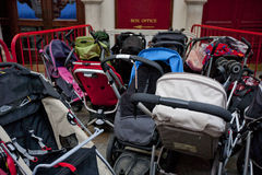 Group of prams outside theatre Royalty Free Stock Photography