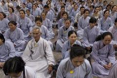Buddhist group prayer during Buddhist funeral  Stock Image