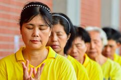 Group praying in style characteristic Chinese Royalty Free Stock Photo
