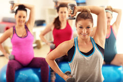 Group of pregnant women during fitness class Royalty Free Stock Images