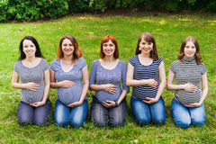 Group of pregnant women sitting on a grass and Royalty Free Stock Photography