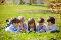 Group of preschool kids, friends and siblings, playing in the pa Royalty Free Stock Photography