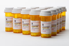Group of prescription medication bottles, horizontal Royalty Free Stock Photo