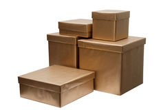 Group of present boxes. Isolated on white stock photos