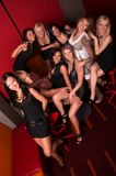 Group of pretty girls in night club Royalty Free Stock Image