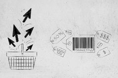 Group of price tags with Marketing caption next to shopping bask. Business communication and persuading customers conceptual illustration: group of price tags stock illustration