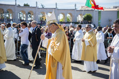 Group of Priests at the Sanctuary of Fatima during the celebrations of the apparition of the Virgin Mary in Fatima, Portugal. Fatima, Portugal - May 13, 2014 stock image