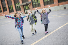Group of primary Pupils Outside Classroom stock photography