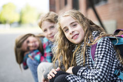Group of primary Pupils Outside Classroom royalty free stock image