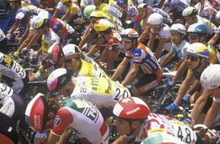Group of Professional bicycling racers preparing at starting line, Beverly Hills, CA Stock Photos