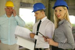 Group of professional construction managers. royalty free stock photography