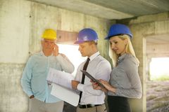 Group of professional construction managers. stock images