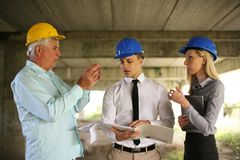 Group of professional construction managers. stock photography