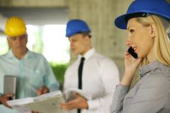 Group of professional construction managers. royalty free stock photos