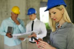 Group of professional construction managers. stock image