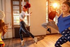 Professional people training modern dances in studio royalty free stock photo