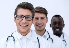 Group of professional physicians. The concept of professionalism stock images