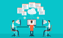 Group programing develop web and application on cloud net work royalty free illustration