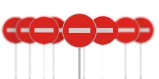 Group of prohibiting signs Stock Photo