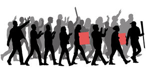 Group of protester silhouette Stock Photo