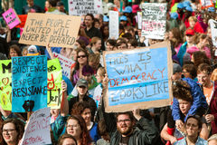 Group Of Protesters Holds Up Signs In Atlanta March Stock Image