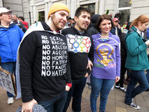 Group of Protesters at the Inaugural Parade Stock Image