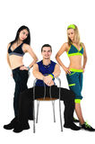 Group of proud fitness instructors. On white background Stock Photo