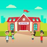 Group of pupils go to school together. Students talking in front of building schoolhouse. Welcome Back to school concept stock illustration