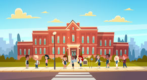 Group Of Pupils Mix Race Stand In Front Of School Building Primary Schoolchildren Talking Students. Flat Vector Illustration Royalty Free Stock Photos