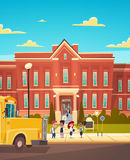 Group Of Pupils Mix Race Stand In Front Of School Building Primary Schoolchildren Talking Students. Flat Vector Illustration Stock Photo