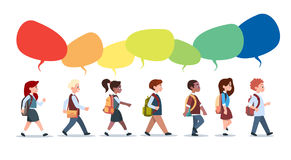 Group Of Pupils Mix Race Walking With Chat Bubbles School Children Isolated Diverse Small Primary Students. Flat Vector Illustration Royalty Free Stock Images