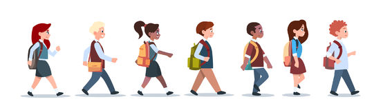 Group Of Pupils Mix Race Walking School Children Isolated Diverse Small Primary Students. Flat Vector Illustration Stock Image