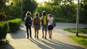 Group of Pupils with School Backpacks Are Going Back to School. They Are Having a Lot of Fun. stock video