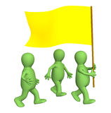 Group of the puppets, going with a yellow flag Stock Image