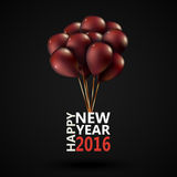 Group purple balloons depicted on a red background. Group purple balloons depicted on a black background. New Year 2016. Graphic illustration Royalty Free Stock Photos