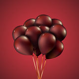 Group purple balloons depicted on a red background. Vector EPS10 Royalty Free Stock Image