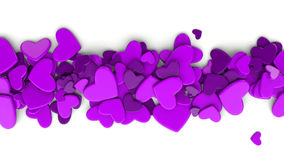 The group purple scattered hearts on a white background. Valentine`s day background. Valentine`s day background. 3d render illustration Stock Photography
