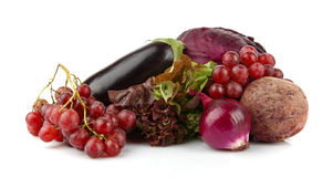 Group of purple vegetables and fruits on white Royalty Free Stock Images