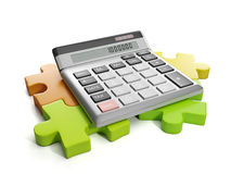 Group puzzles and calculator Stock Photos