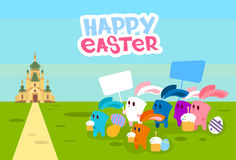 Group Rabbits Hold Placard Eggs Go To Church Happy Easter Holiday Banner Stock Image