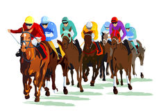 Group of racehorse and jockeys. Illustration of group of jockey and horses in race with white background Stock Photo