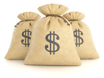Group of rag bags with dollars Stock Photography