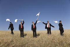 Group raise the white flag Royalty Free Stock Photos