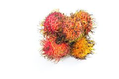Group of rambutans and white background Stock Photo
