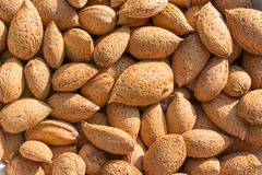 Group of raw almonds, background.  Main ingredient for nougat Sicilian. Group of raw almonds, with skin and rind,background. Main ingredient for nougat Sicilian royalty free stock image