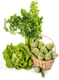 Group of Raw Fresh Organic Assorted Green Vegetables Stock Photo