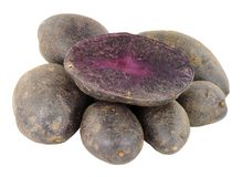 Group Of Raw Purple Majesty Potatoes. Isolated on a white background Royalty Free Stock Photos