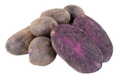 Group Of Raw Purple Majesty Potatoes. Isolated on a white background Stock Photography