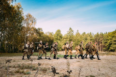 Group Of Re-enactors Dressed As Soviet Russian Red Army Infantry Stock Photos