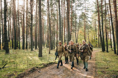 Group Of Re-enactors Dressed As Soviet Russian Red Army Infantry Royalty Free Stock Photo
